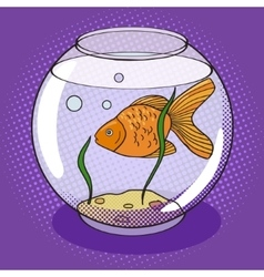 Goldfish in fishbowl pop art style vector