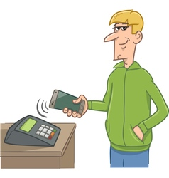 Man paying with smart phone vector