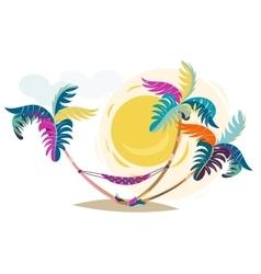 Palm trees sunset cartoon hand drawn vector