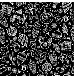 seamless pattern of christmas on black background vector image vector image