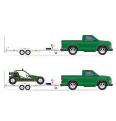 car pickup with trailer 01 vector image vector image