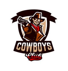 colorful emblem logo cowboy holding a revolver vector image