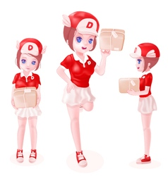 Delivery girl toon isolated vector