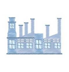 drawing building factory structure vector image