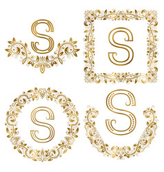 golden s letter ornamental monograms set heraldic vector image vector image