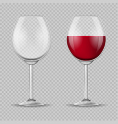 realistic detailed 3d wine glass set vector image vector image