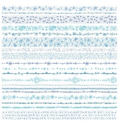 Winter snow seamless line borders setChristmas vector image vector image