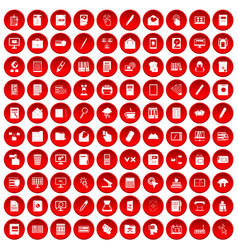 100 folder icons set red vector
