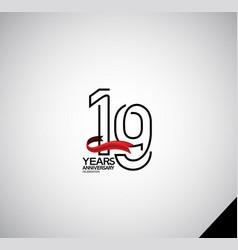 19 years anniversary logotype simple design vector
