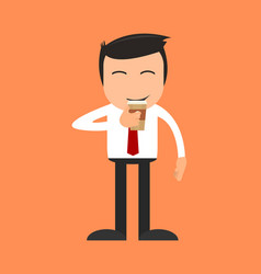 a man drinking a cup of coffee vector image