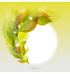 Abstract frame with green leaves vector image
