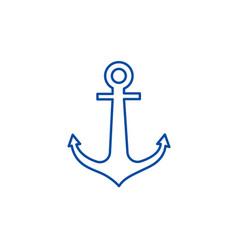anchor line icon concept anchor flat vector image