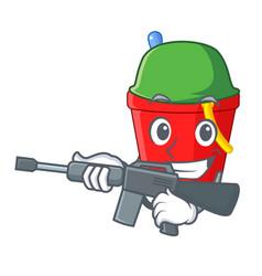 Army beach bucket shape with sand cartoon vector