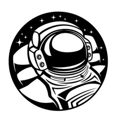 Astronaut in space round sign vector