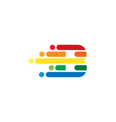 B colorful letter speed pixel logo icon design vector