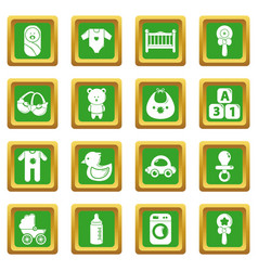 baby born icons set green square vector image