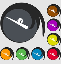Baseball icon Symbols on eight colored buttons vector