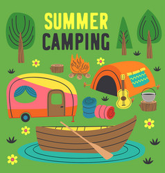 basic rgbsummer camping poster vector image
