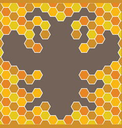 Bee honeycomb with bee pattern backgrounds vector