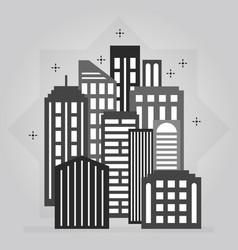 Black and gray night downtown city skyline icon vector