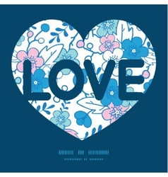 Blue and pink kimono blossoms love text vector