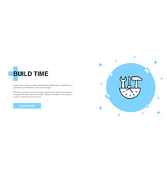 Build time icon banner outline template concept vector