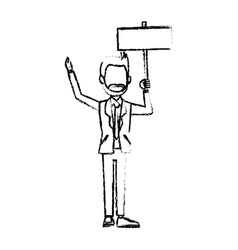 businessman in suit man holding blank billboard vector image