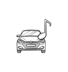 Car with a note hand drawn outline doodle icon vector