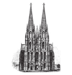 Cathedral of cologne vintage vector