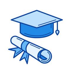 Certificate degree line icon vector