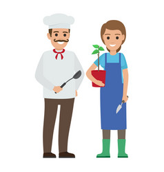 Chef cook and gardener two smiling persons vector