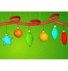 Christmas ornaments and ribbon vector