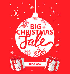 Christmas sale shop now leaflet with lettering vector