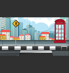 City street view with telephone booth vector