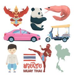 collection of thailand landmarks and different vector image