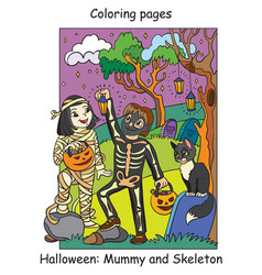 colorful halloween children in costumes vector image