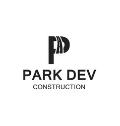 company logo letters p and d by road vector image