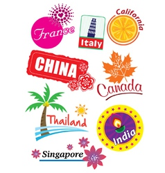 Country stickers vector