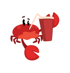 Crab character with paper cup soda drink vector