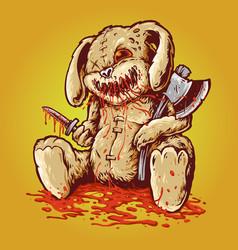 creepy bloody rabbit doll carrying axe dagger vector image