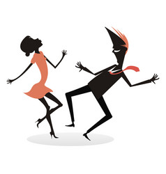 dancing young couple silhouette isola vector image