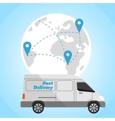 Delivery truck on background of globe vector