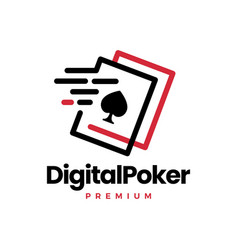 digital poker card fast quick dash tech logo icon vector image