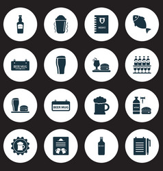 Drink icons set with tavern record an order bar vector