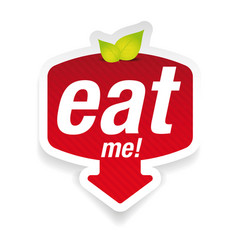 Eat me label sign vector