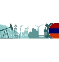 Energy and Power icons set Armenia flag vector