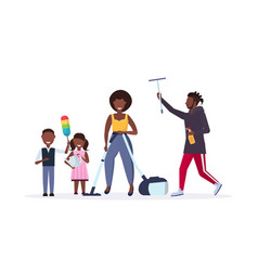 Family doing housework together african american vector