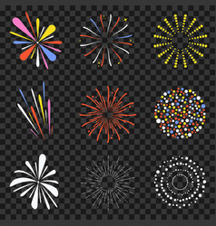 festive fireworks isolated on transparent vector image