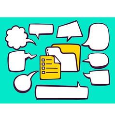 Folder with document with speech comics b vector
