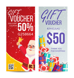 gift voucher vertical coupon merry vector image